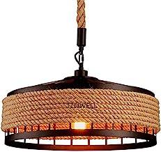 Lampa wisząca w stylu vintage/industrialnym/retro - żyrandol do salonu, okrągły, lina konopna, żelazna klatka, gwint E27, ...