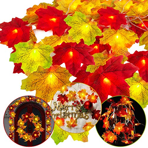 AY 2 Packs 15FT Fall Maple Leaf Garland Fairy String Lights with 5 Colors of Double Maple Leaves 20 Lights...