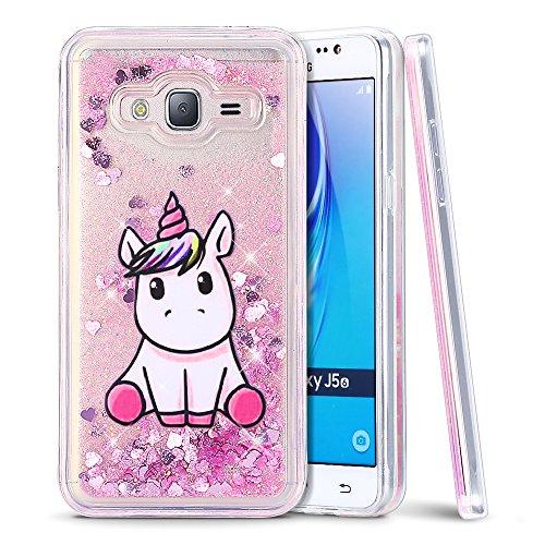 MoEvn Cover per Samsung J3 2016 Custodia, Unicorno 3D Glitter Liquido Trasparente Sabbie Mobili Morbida TPU Silicone Antiurto Protezione Case per Samsung Galaxy J3 2016 Smartphone (Rosa)