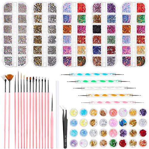 Wodasi Kit Decoracion Uñas, Kit de Accesorios Decoración Uñas Nail Art, Kit de Decoración de Uñas, Kit de Diseño de Arte de Uñas, con 15 Pinceles para Uñas, Lápiz de Punto, etc, 59 Unidades