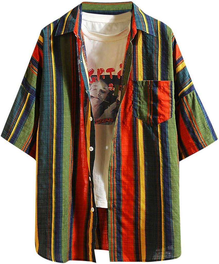 RTYou Mens shirt Hawaiian Shirts for Men Casual Striped Button Down Loose Short Sleeve Beach Shirts Tee Blouse with Pocket