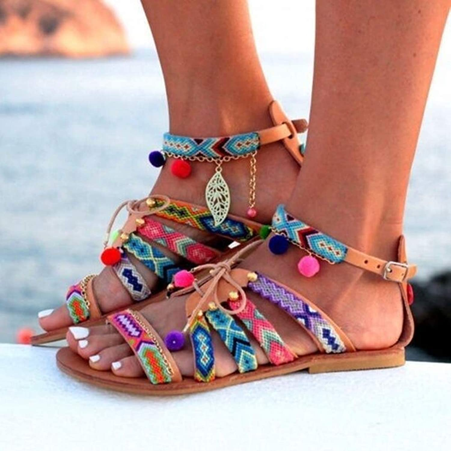 LQT Ltd Plus Size 34-43 Ethnic Bohemian Summer Women Sandals Gladiator Roman Strappy Embroidered shoes Woman Flat shoes