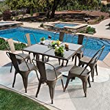 GUNJI Patio Dining Set 9 Pieces Outdoor Dining Table and Stackable Metal Dining Chairs Patio Dining Table Set with Tempered Glass Patio Furniture Set for Garden, Courtyard, Lawn, Balcony (Gun)