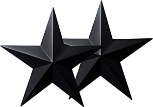 CVHOMEDECO. Country Rustic Antique Vintage Gifts Black Metal Barn Star Wall/Door Decor, 18-Inch, Set of 2.