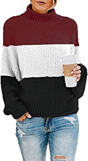 Doreyi Women's Pullover Sweaters Casual Turtleneck Long Sleeve Soft Knitted Sweater Oversized Color Block Coats