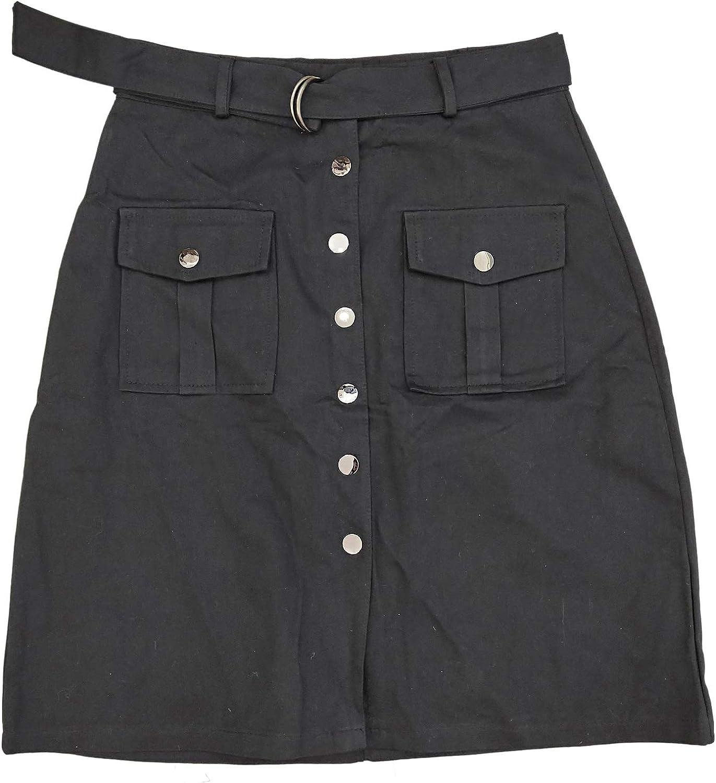 Women Casual Metallic Button Midi Skirt with Sash