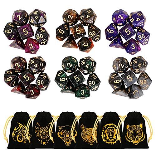 GWHOLE 42 Dés Polyédriques Couleurs du Ciel étoilé pour Jeux de Table Jeux De Role Donjons et Dragons D&D Dice DND RPG dés MTG Double Couleurs
