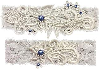 9b7ee563a33 GARGALA Wedding Garters for Bride Bridal Lace Garter Set with Blue  Rhainstone