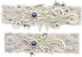 Wedding Garters for Bride Bridal Lace Garter Set with Blue Rhainstone