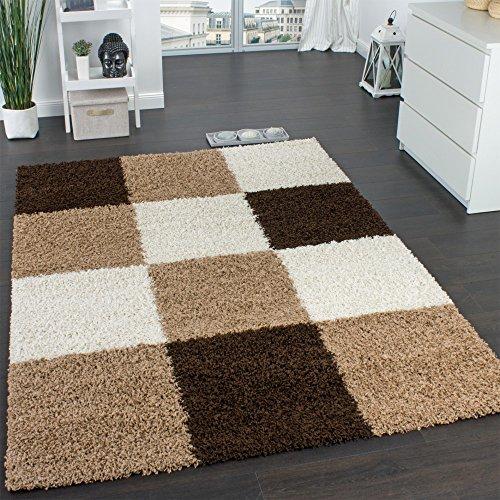 Paco Home Shaggy Teppich Hochflor Langflor Gemustert in Karo Braun Beige Creme, Grösse:120x170 cm