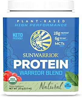 Sunwarrior - Warrior Blend, Plant Based, Raw Vegan Protein Powder with Peas & Hemp, Natural, 15 Servings