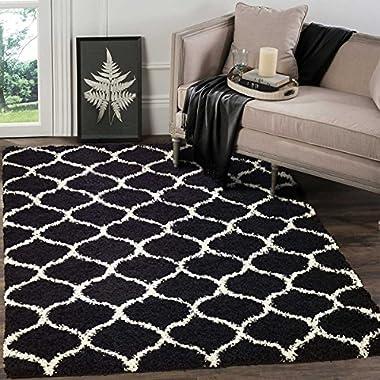 A2Z RUG Cozy Super Trellis Shaggy Rugs Black & Ivory 80x150 cm -2'6 x4'9  ft Contemporary Living Dinning Room & Bedroom Soft Area Rug