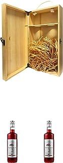 1a Whisky Holzbox für 2 Flaschen mit Hakenverschluss  Ficken Jostabeerenlikör 0,7 Liter  Ficken Jostabeerenlikör 0,7 Liter