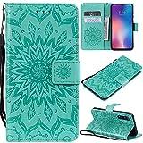 KKEIKO Hülle für Xiaomi MI 9 SE, PU Leder Brieftasche Schutzhülle Klapphülle, Sun Blumen Design Stoßfest Handyhülle für Xiaomi MI 9 SE - Grün
