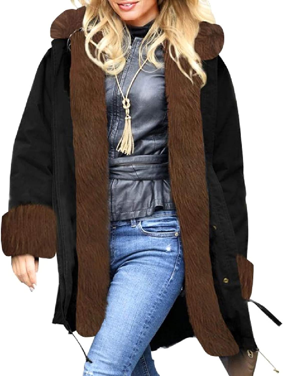 Freely Women's Warm Velvet Casual Loose Puffer Jacket with Hood