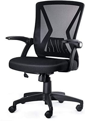 ZHAN YI SHOP Office Chair, Ergonomic 360° Swivel Black Mesh Computer Chair, Flip Up Arms with Lumbar Support Study Chair, Adjustable Height Task Chair, Mid Back Mesh Swivel Chair (Color : Black)