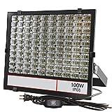 <グレードアップ>超薄型 超高輝度 LED投光器 100W 昼光色 10000LM 広い範囲照射可能 放熱性高い 耐久型 防塵防水レベルIP66同等以上 フラッドライト ガレージ 公園 工場適用 余裕の3mコード プラグ付き 利便性高い 一年保証付き(黒, 100W)