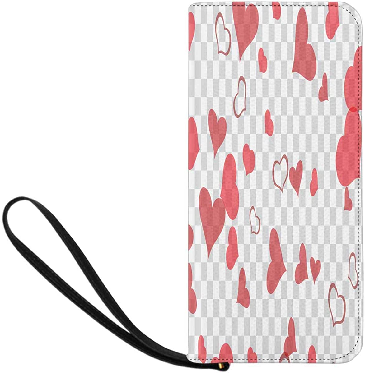 INTERESTPRINT Red Hearts of Confetti Are Flying Clutch Purse for Women Evening Party