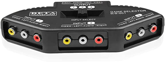 TNP 3 Way Port RCA Audio and Video Composite AV Switcher Selector Distribution Switch Box (3 Input 1 Output) for Wii, Xbox, DVD, PS2, Cable Box