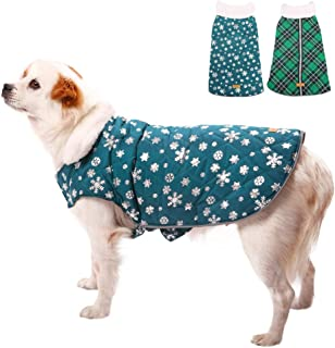 Kuoser Christmas Snowflake Cold Weather Dog Coat for Winter Reflective Reversible Dog Warm Fleece Jacket Waterproof Windproof Dog Vest with Furry Collar for Small Medium Large Dogs