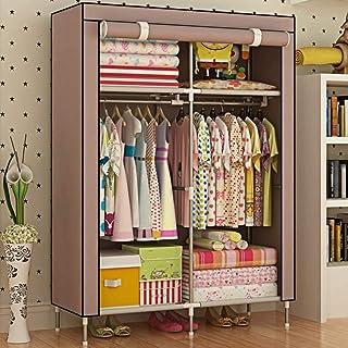 HWG Armoire De Rangement Penderie Tissu Garde-Robe Portative De Vêtements avec 2 Tringles à Vêtements, 4 étagères pour Cha...