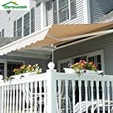 Diensweek 12'x10' Patio Awning Retractable Manual,Commercial Grade, Fully Assembled,100% 280G Polyester Window Door Sunshade Shelter,Deck Canopy Balcony 1 Years Warranty (12'x10', Beige)