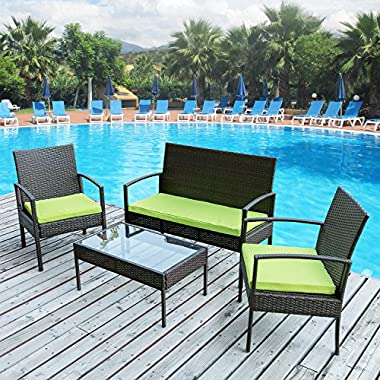 Merax 4 PC Outdoor Rattan Furniture Set Patio Wicker Cushioned Set Garden Sofa Set (Cushion Green)