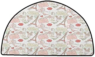 Washable Kitchen Area Rug Paris,French Pop Culture Lovers in Streets Bonjour Je Taime Flower Pastel Life Image, Dried Rose Cream,W30 x L18 Half Round Carpet mat