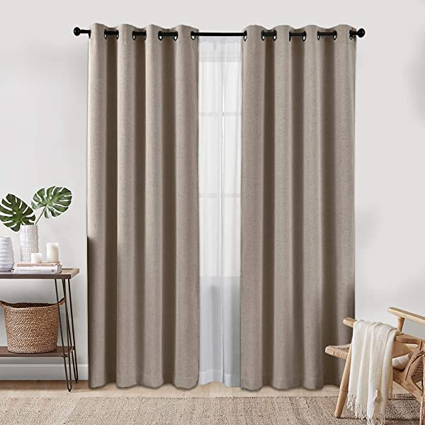 Full Blackout Curtains For Bedroom 84 Long Linen Textured Thermal Insulated Window Treatment Set Nursery Room Grommet Top 2 Panels Tan