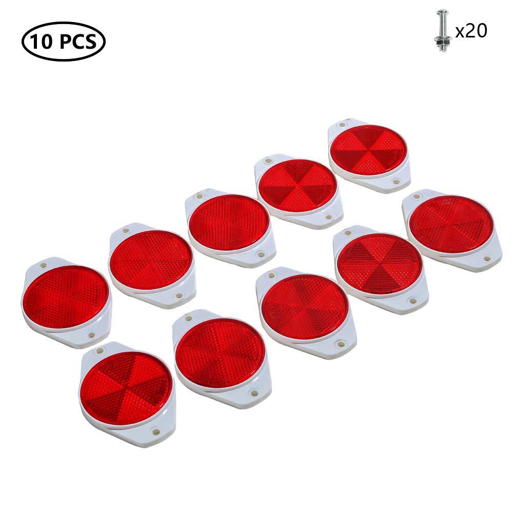 Taeuto 10 X Anhänger Rund Rot Rückstrahler Anhänger Rund Rückstrahler Katzenauge Reflektor 2 Mount Holes Schraube Befestigung Katzenauge Reflektor Für Wohnwagen Traktor Reflektoren Anhänger Rot Auto