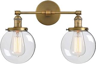 YXNKK E27 Lámpara de Pared Vintage, Aplique de Pared Industrial Retro, Luces de Pared Cocina Interior Luz de Pared Corredor 3 Cabezas Lámpara Clásica con Pantalla de Vidrio para Baño,Latón,43CM