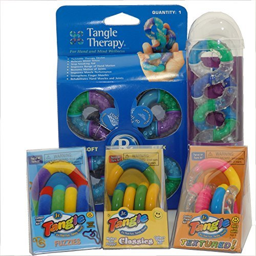 Set of 5 Tangle Jr Fidget Toys Original Fuzzy Textured Relax Therapy by Tangle