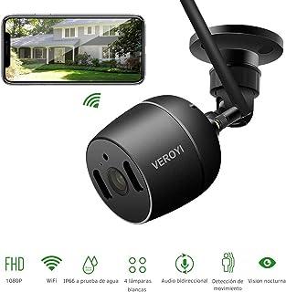 Cámara de Seguridad para Exteriores Veroyi cámara de Seguridad para el hogar con vigilancia IP 1080P WiFi con detección de Movimiento de visión Nocturna a Todo Color Audio de 2 vías