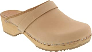 Bjork Maja Swedish Clog Sandal in Beige Oiled Leather