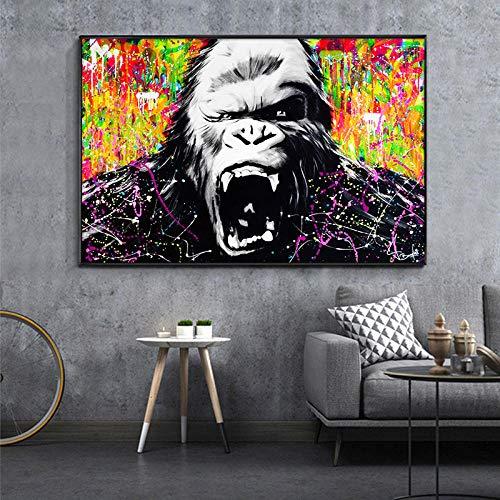 Graffiti Art Canvas Painting Street Wall Art Posters e Impresiones Angry Oranguttan Imagen de Animal para habitación de niños Decoración Abstracta para el hogar 70x105cm Sin Marco