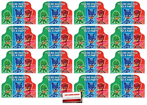 16 Pack PJ Masks Postcard Style Party Invitations (Plus Party Planning Checklist by Mikes Super Store)