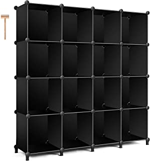 TomCare Cube Storage 16-Cube Bookshelf Storage Shelves Closet Organizer Shelf Cube Organizer Plastic Book Shelf Bookcase DIY Closet Cabinet Organizers Shelving for Bedroom Office Living Room, Black