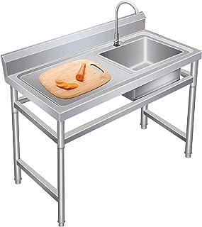 Fregadero Comercial de 2 Senos para Cocina Ejoyous Fregadero de Cocina de Acero Inoxidable