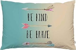EKOBLA Throw Pillow Cover Be Kind Be Brave Quote Words Inspirational Saying Arrow Tribal Design Art Hand Drawn Decor Lumba...