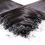 Just Beautiful Hair 200 x 0.8 g Extensiones de Micro Ring Pelo Natural, VIRGIN - 50cm, Colore #Negro Natural