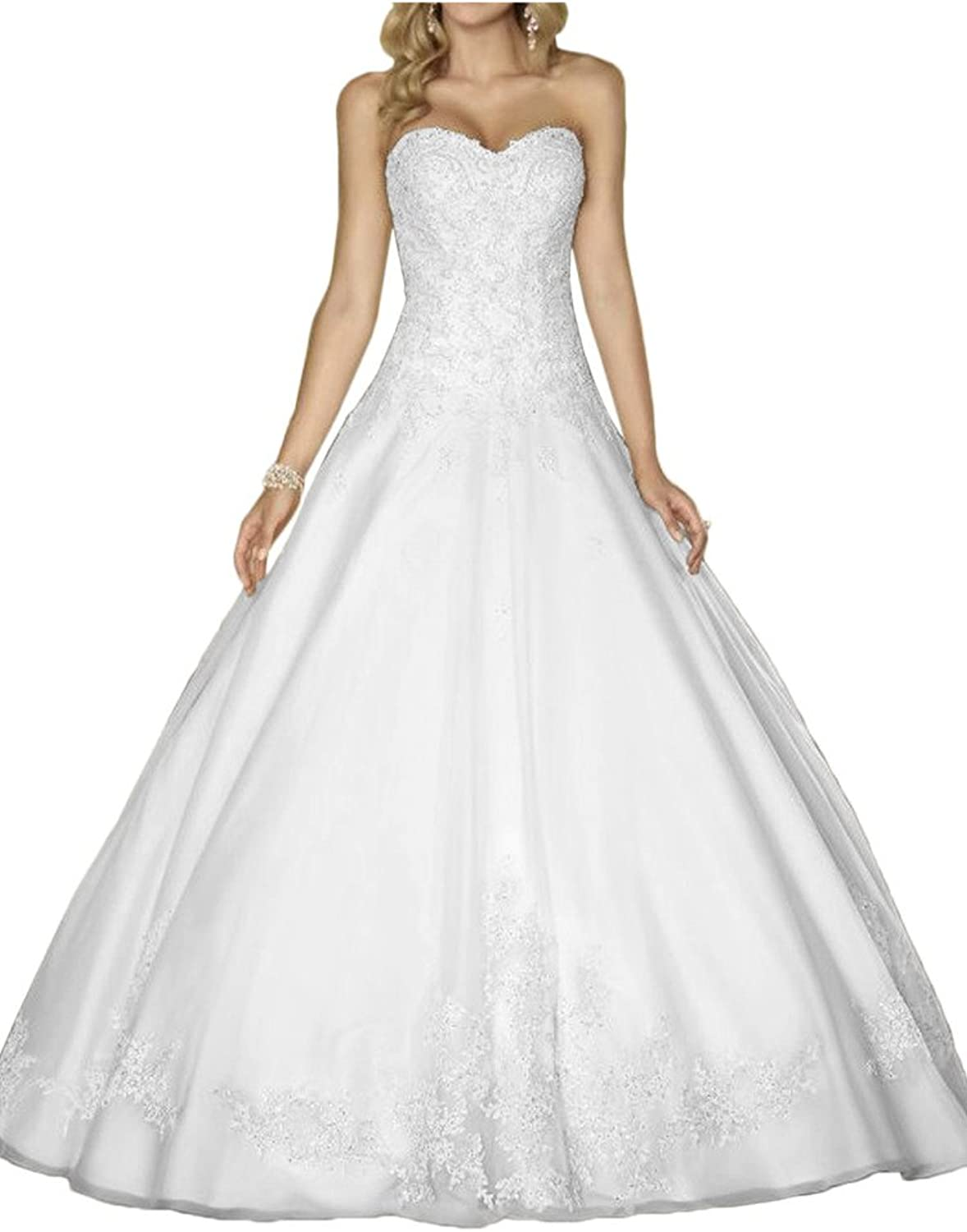 Avril Dress Simple Strapless Tulle Wedding Applique Lace Bridal Gown Lace up