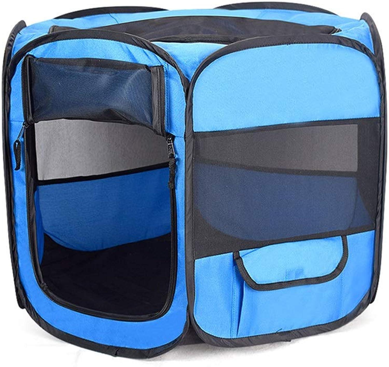 FELICIOO Convenient Foldable Car Kennel Oxford Pet Bag (color   bluee, Size   L)