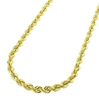 "Orostar 10K Yellow Gold 3MM, 3.5MM, 4MM, Diamond Cut Handmade Rope Chain Necklace, 16"" - 30"""