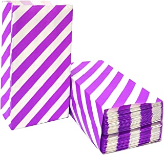 Purple Striped Paper Bags Mini Party Goody Bags for Kids Birthday Party Supplies by ADIDO EVA (50 CT 3.5×2.3×7 in)