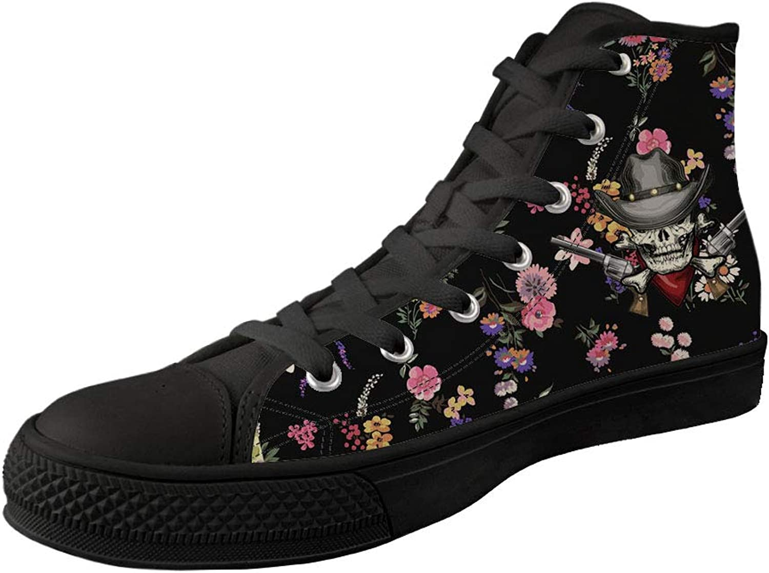 FUSURIRE Unsex Skull shoes for Men Women Fashion Sneakers High Top Floral Print colorful shoes