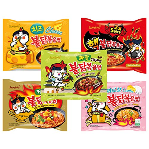 Samyang Probier Box - Set mit 5 verschiedenen koreanischen Ramen - Hot Chicken Buldak Ramen Geschenkbox