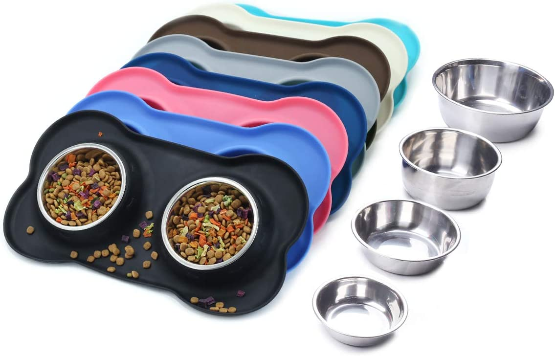 Vivaglory Dog Miami Mall Bowls Stainless Max 83% OFF Steel Water N Food and Feeder with