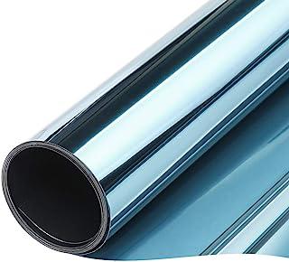 TTMOW Vinilo Pet Película Adhesiva Lámina de Espejo para Ventanas Cristal Unidireccional Protector de Privacidad Anti 99% UV y Anti 85% IR para Hogar y Oficina (Azul y Plata, 90 * 200cm)