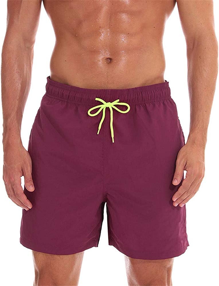 N/ A Swim Trunks for Men with Pockets,Mens Swim Trunks Quick Dry Funny Shorts with Mesh Lining Swimwear Bathing Suits