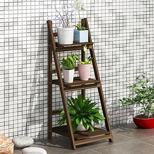 Support de fleur en bois solide/Support de pot pliant intérieur simple étagère